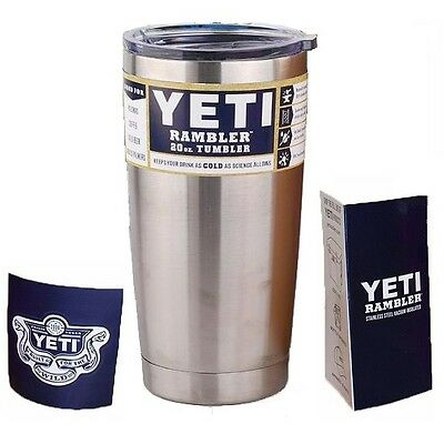 NEW 2016 Yeti 20oz Rambler Tumbler STAINLESS STEEL Cooler Coffee Cup Mug Wit Lid