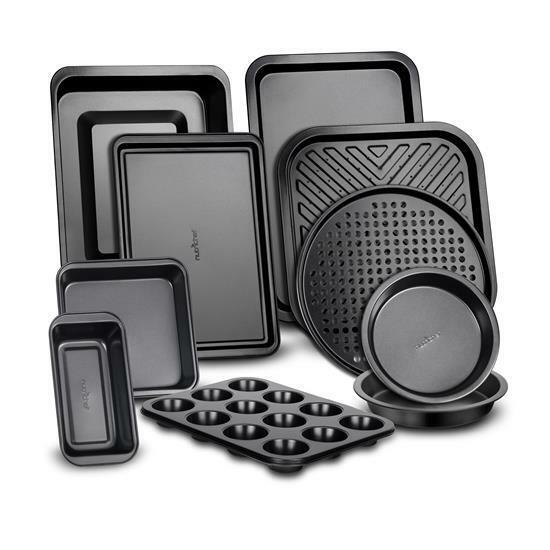 NutriChef 10-Piece Deluxe Carbon Steel Bakeware Kitchen Oven Baking Pans Set