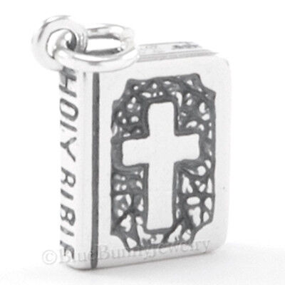 Holy Bible Charm - 3D HOLY BIBLE Pray Cross Spirit Dove detailed Charm Pendant 925 Sterling Silver