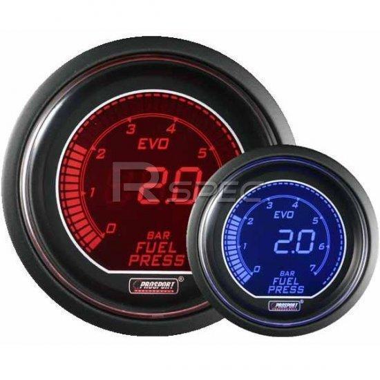 Prosport 52mm Evo combustible de los automóviles Manómetro Bar Rojo Azul Lcd Pantalla Digital