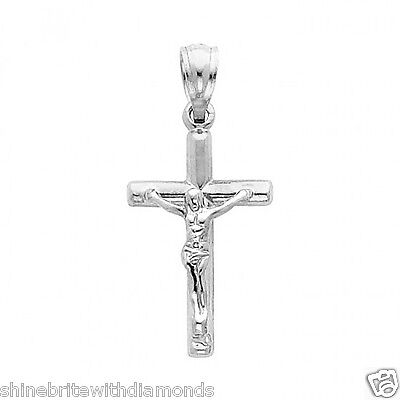 14k Solid White Gold Cross Jesus Crucifix Religious Charm Pendant Small 14k Gold Small Cross