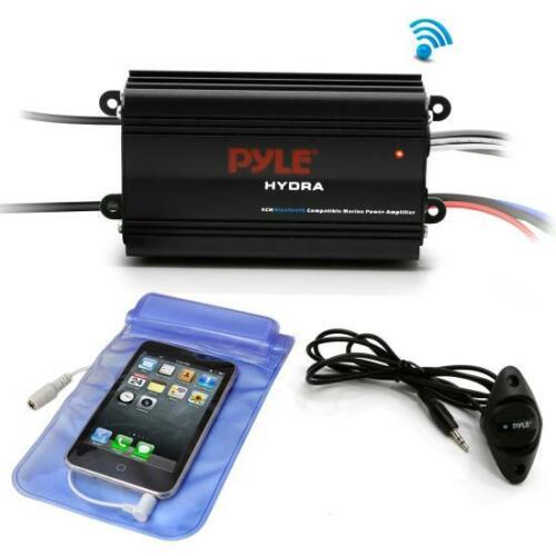 Pyle PLMRMB4CB Bluetooth Marine Amplifier Kit, 4-Ch. Waterproof Audio Power Amp