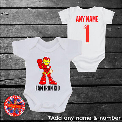 Marvel Iron Man Inspired Iron Kid baby grow vest, kids t-shirt,any name & number - Iron Man Baby