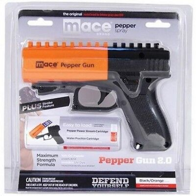 Mace 80406 Black & Orange Pepper Gun 2.0 w/7 Bursts & 20' Range