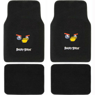 New Black Angry Birds Bomber Car Truck Front Back Rear Carpet Floor Mats Set