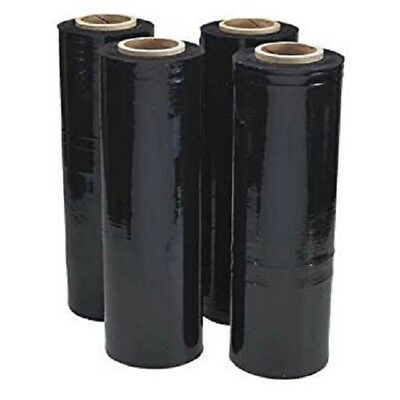 18 X 1500 80 Ga 4 Rolls Pallet Wrap Stretch Film Hand Shrink Wrap 1500ft Black