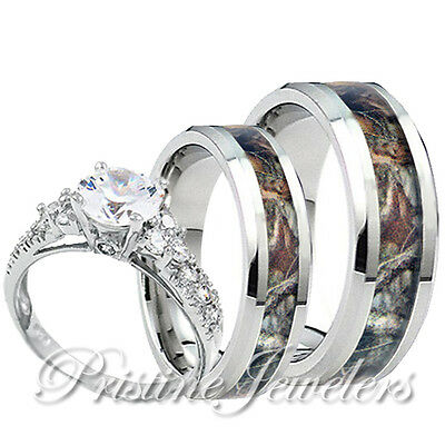 Camo Ring Set (Womens 925 Sterling Silver Ring Mens Titanium Mossy Forest Oak Camo Band 3pc)