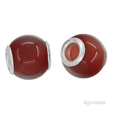 Carnelian Barrel - Sterling Silver Carnelian Agate Barrel Charm Bead Fit European Bracelet #94205