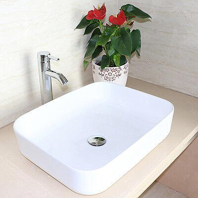 Bathroom Rectangle White Porcelain Ceramic Barque Sink & Chrome Faucet Combo NEW