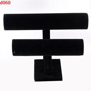 Black-Velvet-double-line-holder-for-bracelet-bangle-watch-display-rock-case-J6P8