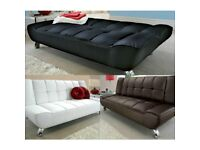Leather sofa, sofa bed, modern, 3 seater, chrome legs, squared pattern,