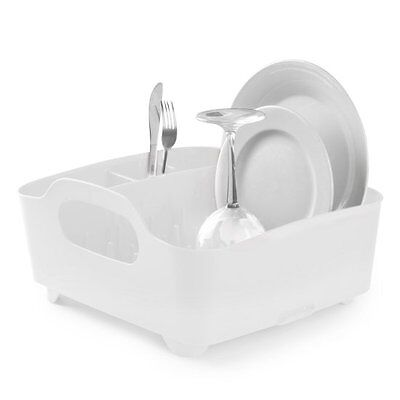 UMBRA TUB DISH RACK - Drainer Tray Washing Up Dishrack Tidy  - WHITE