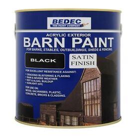 Bedec Black Satin Barn Paint for Wood/Brick/Metal/Plastic