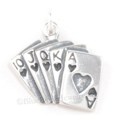 ACE of HEARTS Royal Flush Poker Charm Cards Pendant 925 Sterling Silver - Ace Of Hearts Card