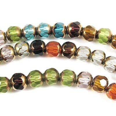 "22"" Faceted Round Cathedral Glass Beads-MULTI MIX 5x6mm (100 pieces)"