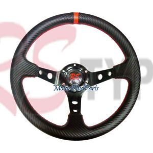 UNIVERSAL 320MM CARBON STEERING WHEEL BLACK DEEP DISH W/ RED STITCH