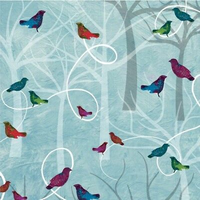 Autumn Hues cotton quilt fabric BTY Studio E Jewel tone Birds on Limbs Blue Grey