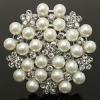 Silver Crystal Rhinestone Pearl Snowflake Pin Brooch For ...
