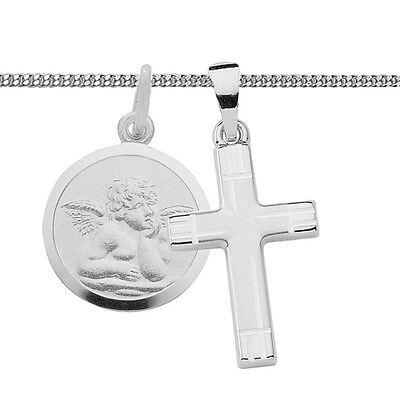 Jungen Mädchen Kreuz mit Engel Anhänger zur Kommunion Taufe mit Kette Silber 925