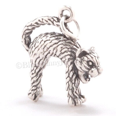 Hissing CAT Pendant Charm Kitty Sterling Silver SPOOKY HALLOWEEN 3D 925 .925](Halloween Kitties)