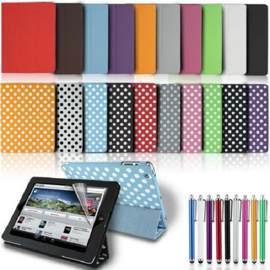 Luxury Magnetic Smart Polka Flip Cover Stand Wallet Leather Case For iPad 2 3 4