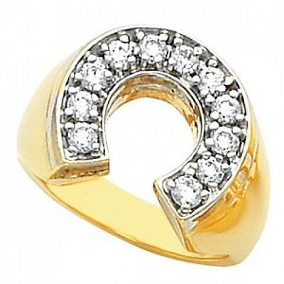 Men's Gold Stainless Steel Gold GP cz Ring lucky Good Luck horseshoe Ring    Gold Mens Horseshoe