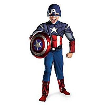 Jungen Kind Marvel The Avengers Deluxe Muskel Brust Captain America - Muskel Avengers Captain America Kostüm