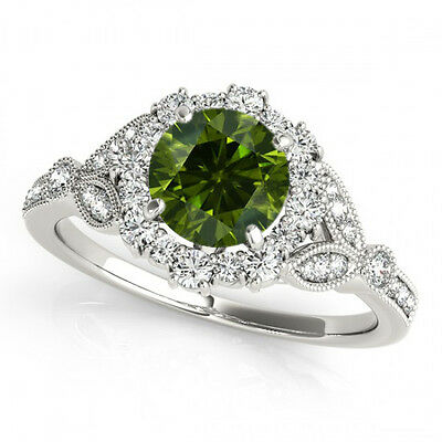 0.78 Carat Green Diamond Fancy Style Engagement Ring 14k Gold Best Deal