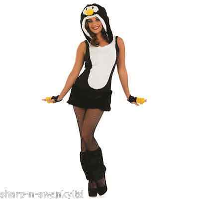 Ladies Sexy Fluffy Penguin Animal Xmas Fancy Dress Costume Outfit 8