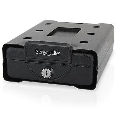 SereneLife Gun Safe Steel Vault Box, Personal Firearm Key Lock Under Desk Mount
