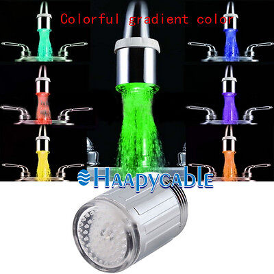 New 3 Color Sensor LED Light Glow Shower Spraying Kitchen Sink Water Faucet Tap