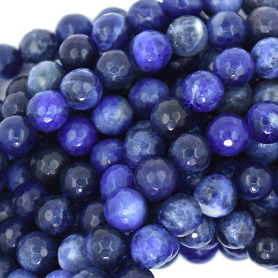 Faceted Blue Sodalite Round Beads Gemstone 15