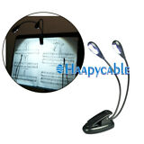 New Flexible 2 Dual Arm 4 LED Lamp Clip on Light for Book Reading Tablet Laptop