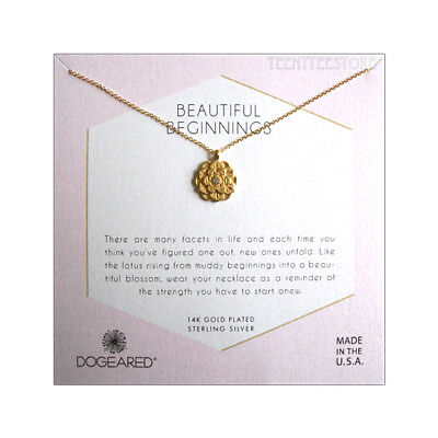 Dogeared 14K Gold Vermeil Lotus Charm & Crystal Inset Necklace 16