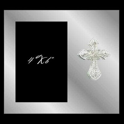 Plain glass photo frame with a crystal cross, holds 4x6 inch