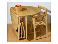 WOODEN FOLD AWAY TABLE & CHAIRS