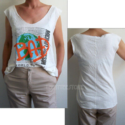 Junk Food Michael Jackson BAD Back Stitch Cut Off Easy Muscle Tank Linen - Bad Food