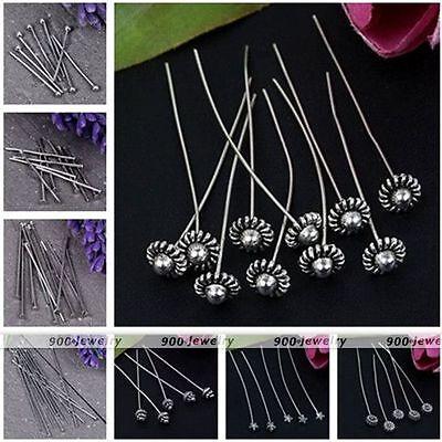 Silvery Ball/Flat/Flower Top Head Pins Jewelry Findings Craft DIY - Flat Flower Pins
