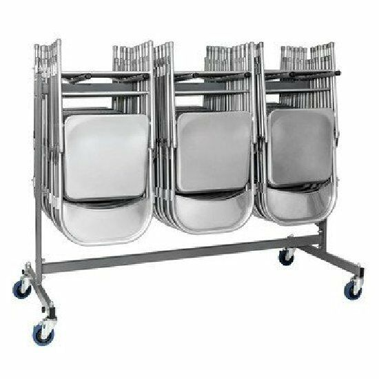 Gray Chair Trolley Cart Storage Rack Folding Steel Commercia