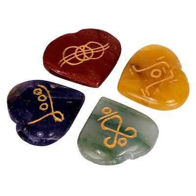 Reiki herzförmige Symbolsteine im 4er SET Energie