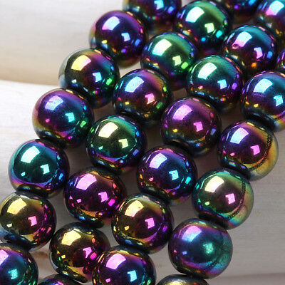 72x Multi Color Holographic Laser Magnetic Hematite Round Loose Beads 6mm -