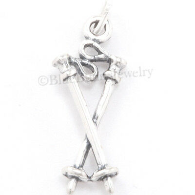 - SKIING Charm Winter Sport SNOW SKI POLES Pendant Solid Sterling Silver 925 .925
