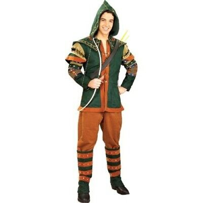 Robin Hood Costume 5Pc Br/Gr Hooded Tunic Pants Boot Tops & Quiver Std & XL