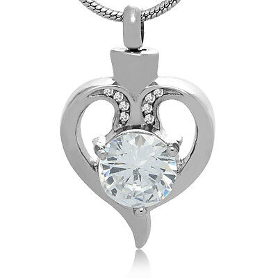 Open Heart Cremation Necklace Ashes Jewelry Keepsake CZ Funeral Memorial Keepsake Funeral Cremation Urn