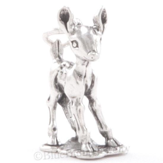 3D FAWN Sterling Silver Bambi Bracelet 925 Charm Pendant Vintage Deer Baby