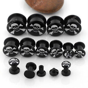 Pair 4-14MM Black UV Acrylic Cute Skull Ear Tunnels Screw Plugs Earlets Gauges