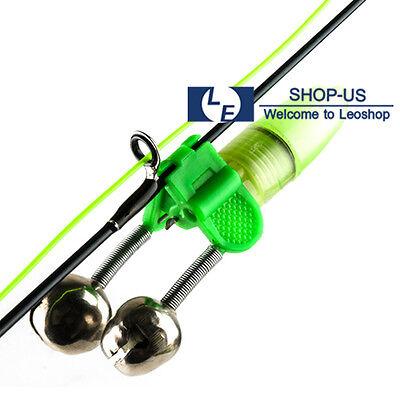 New 10pcs Night Fishing LED Light Rod Tip Fish Ring Bite Clip Double Alarm Bells