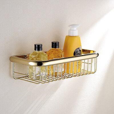 Gold Brass Bathroom Shower Soap Tray Corner Shelf Wall Mount Storage Basket Rack