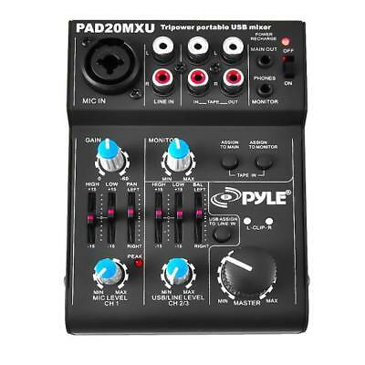 Pyle PAD20MXU 5 Channel Professional Compact Audio Mixer with USB (20 Channel Compact Mixer)