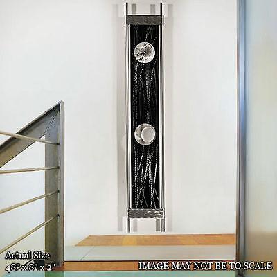 Large Silver/Black Abstract Wall Clock - Contemporary Abstract Metal Wall Art